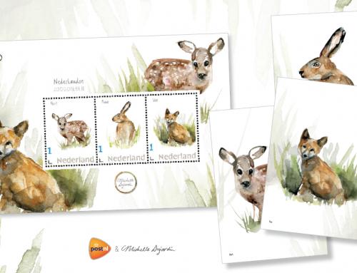 Schilderijtjes van Michelle Dujardin sieren postzegels